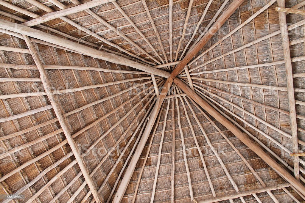 Palapa Roof Interior stock photo
