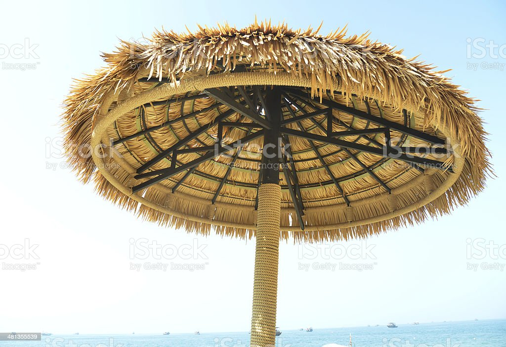 Palapa Sun Roof Beach Umbrella stock photo