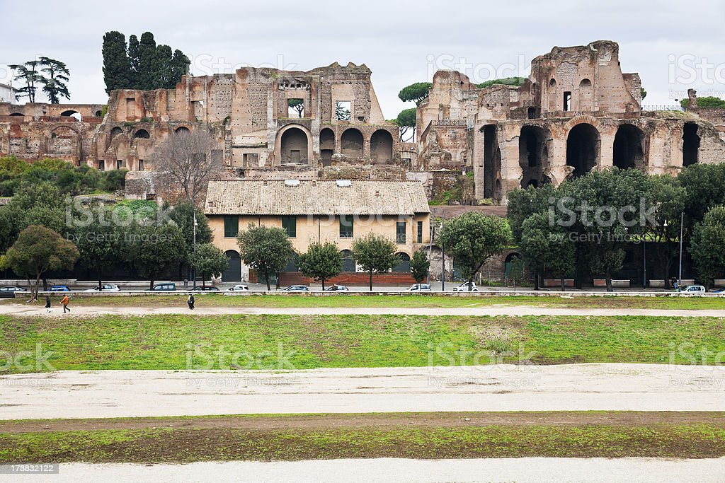 Palatine and ground of Circus Maximus in Rome stock photo