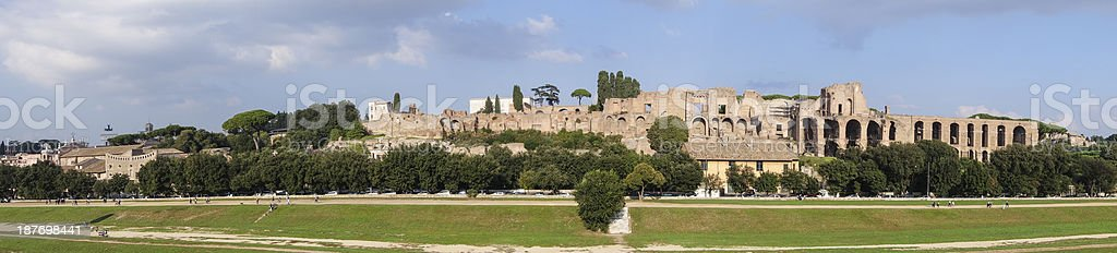 Palatine hill and Circus Maximus panorama, Rome Italy stock photo