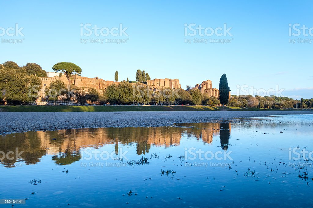 Palatine hill and Circus Maximus with reflection, Rome Italy stock photo