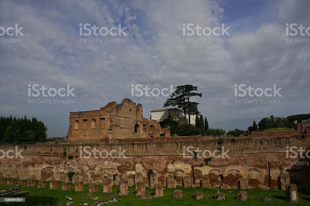 Palatine Hill of Ancient Rome in Italy stock photo
