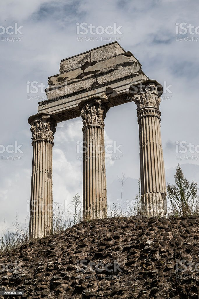 Palatine Hill Roman ruins in Rome with clear blue sky stock photo
