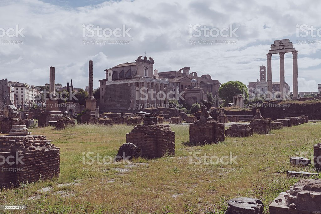palatine ruins view in the city of rome stock photo