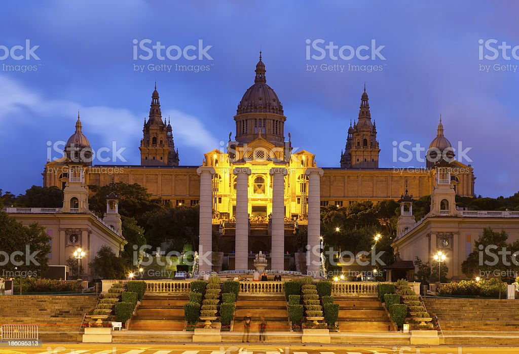 Palau Nacional de Montjuic in  Barcelona, Spain stock photo