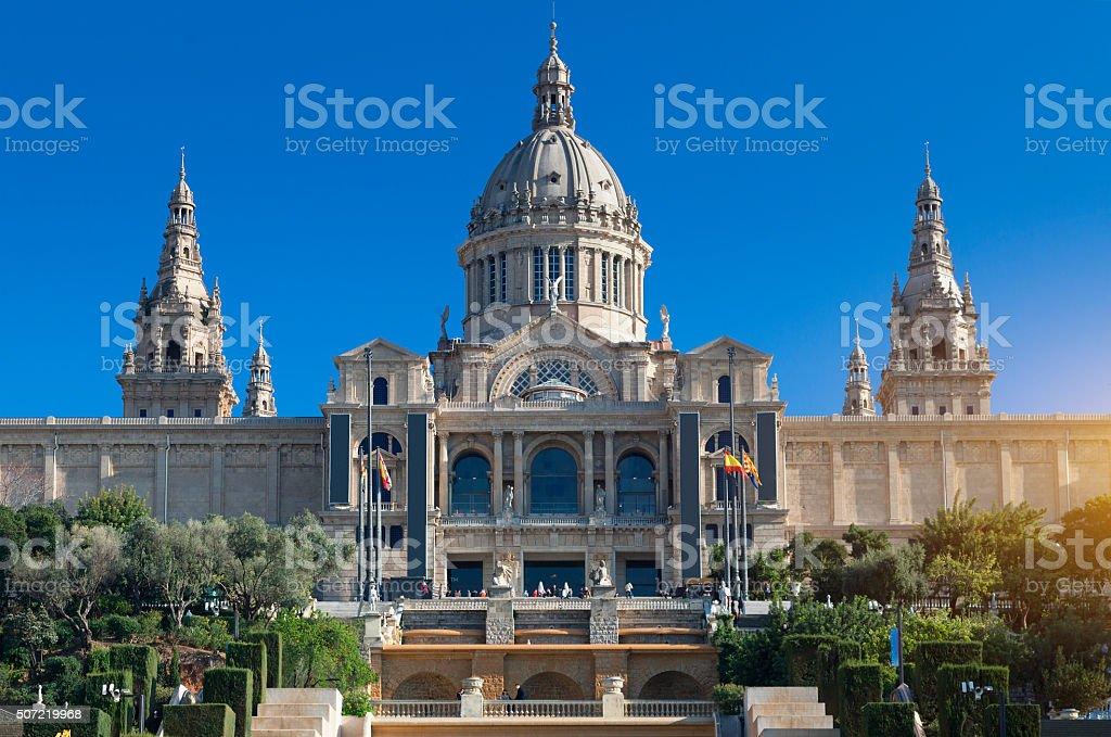 Palau Nacional in Barcelona stock photo