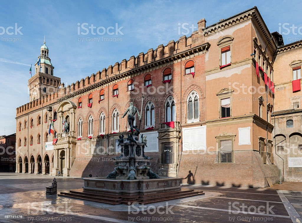 Palazzo d' Accursio & the Fountain of Neptune, Bologna, Italy stock photo