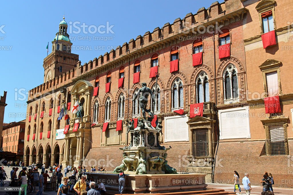 Palazzo D'Accursio and Neptune Fountain in Bologna, Italy stock photo