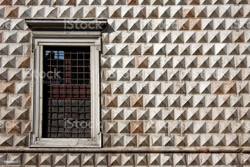 Palazzo dei Diamanti Facade with Window, Ferrara (Clipping path) stock photo