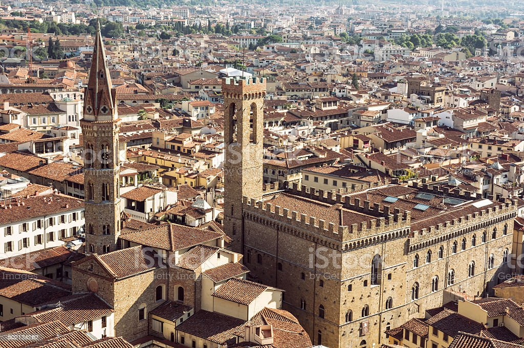 Palazzo del Bargello and Badia Fiorentina steeple, Florence, Ita stock photo