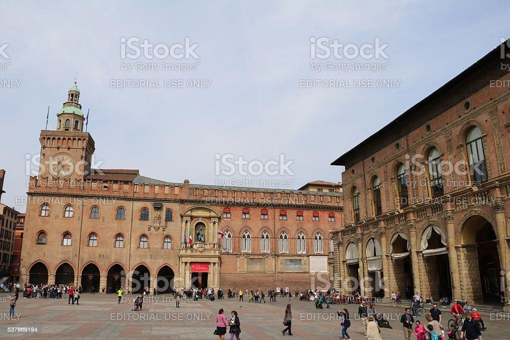 Palazzo del Podesta and Palazzo d'Accursio, Piazza Maggiore Bologna Italy stock photo