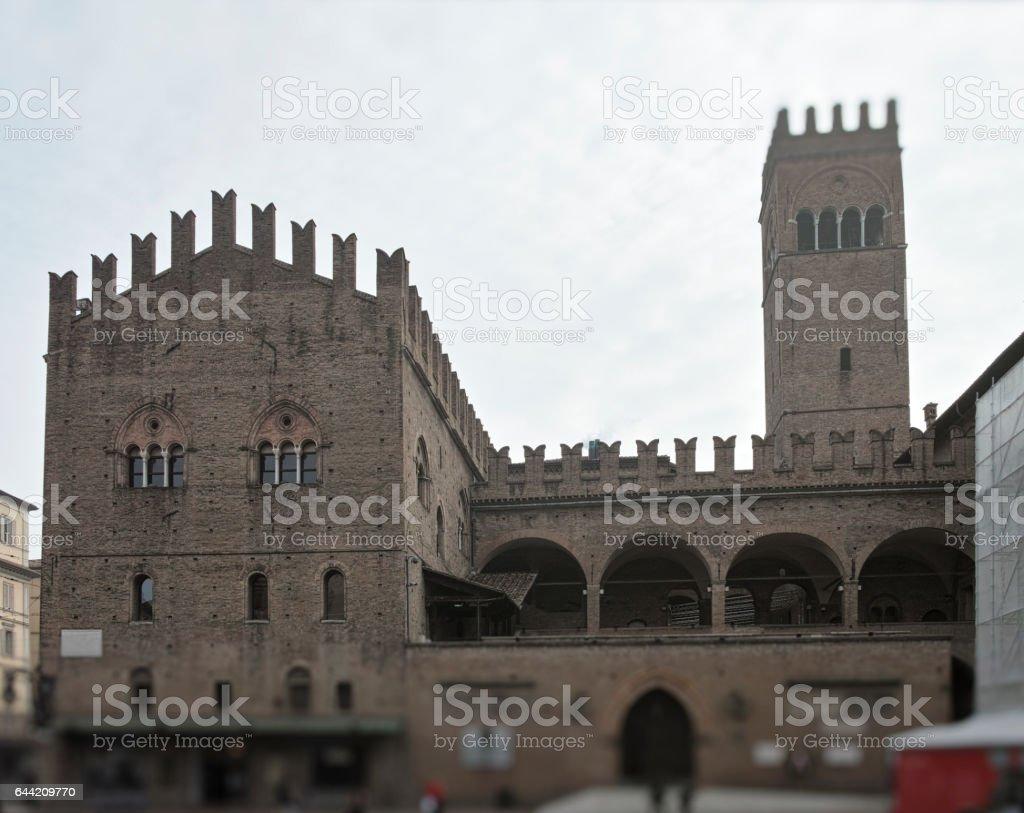 Palazzo del Podesta in Piazza Maggiore Bologna in Emilia Romagna stock photo