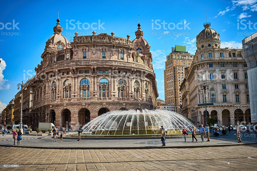 'Palazzo della Borsa', great fountain at central Place in Genoa stock photo