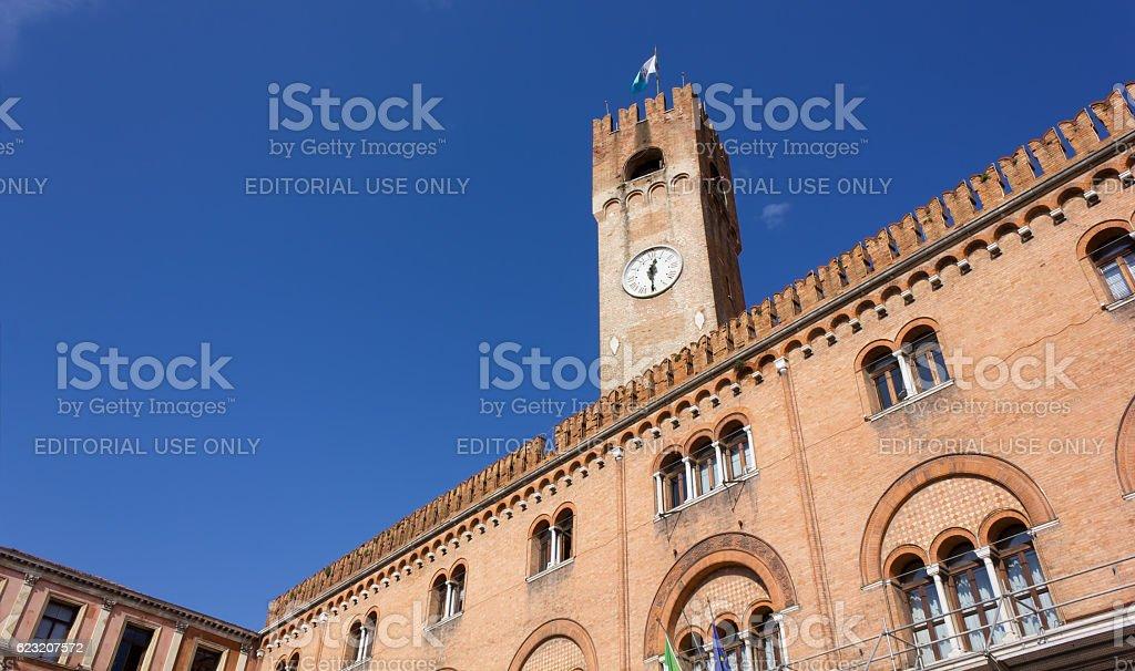 Palazzo della Prefettura and Civic Tower in Treviso stock photo