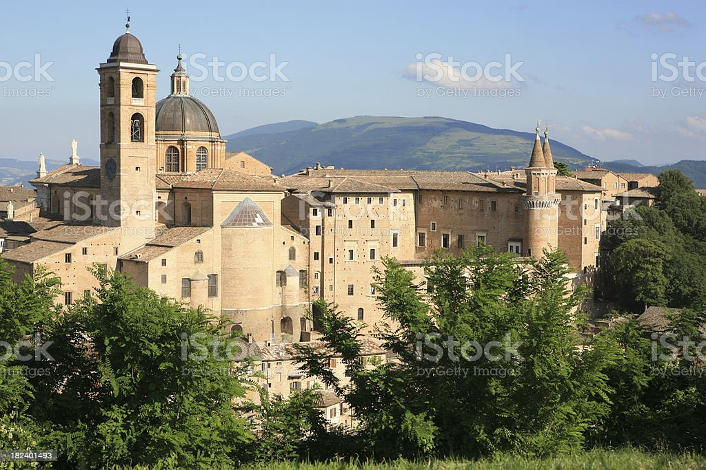 Palazzo Ducale in Urbino and surroundings, Marche Italy royalty-free stock photo
