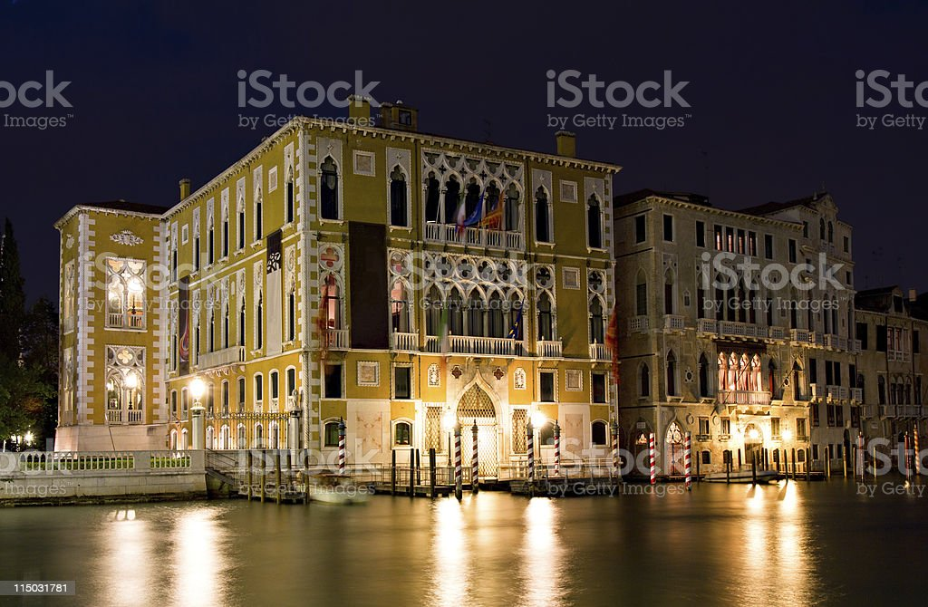 Palazzo Franchetti Cavallo at night stock photo