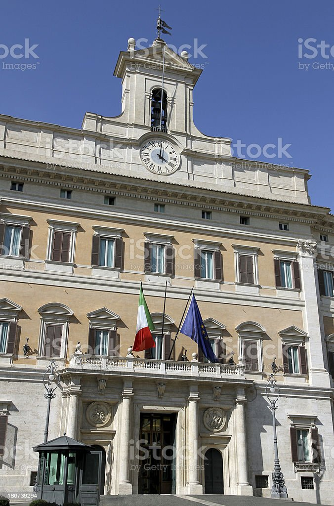 Palazzo Montecitorio headquarters of the Italian Parliament in R stock photo