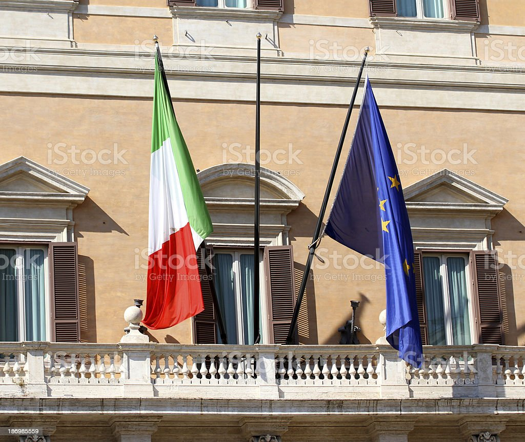 Palazzo Montecitorio headquarters of the Italian Parliament with stock photo