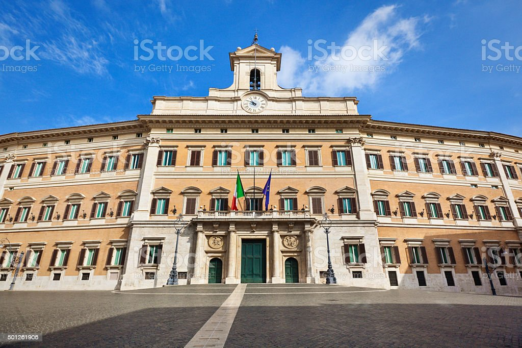 Palazzo Montecitorio, Italian Chamber of Deputies Parliment Building, Rome, Italy stock photo