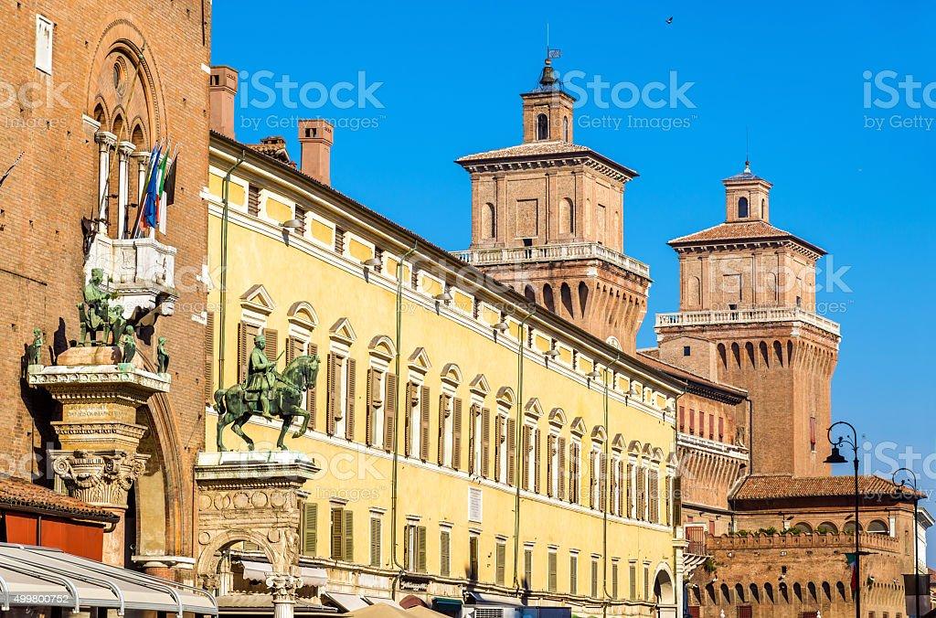 Palazzo Municipale and Castello Estense in Ferrara - Italy stock photo