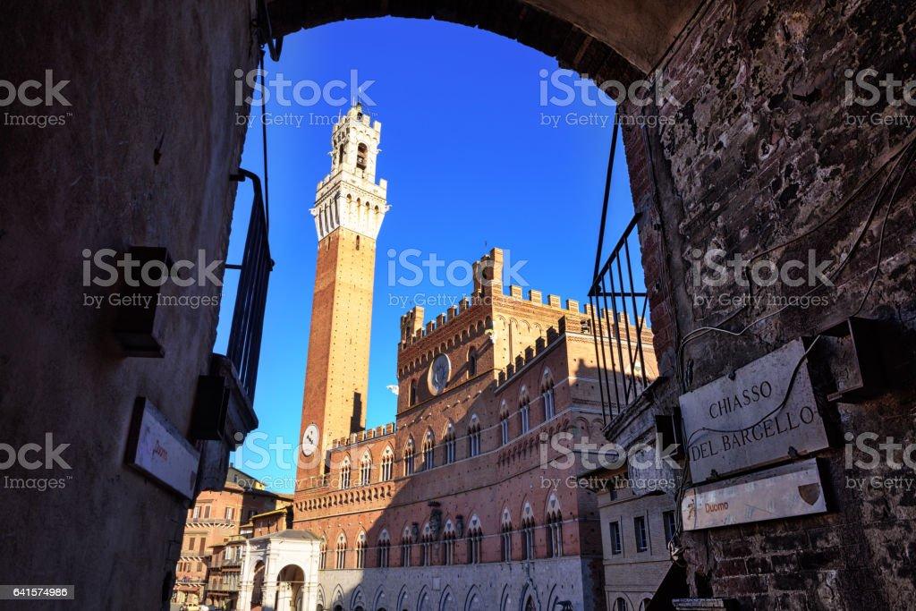 Palazzo Pubblico and Torre del Mangia, Siena stock photo