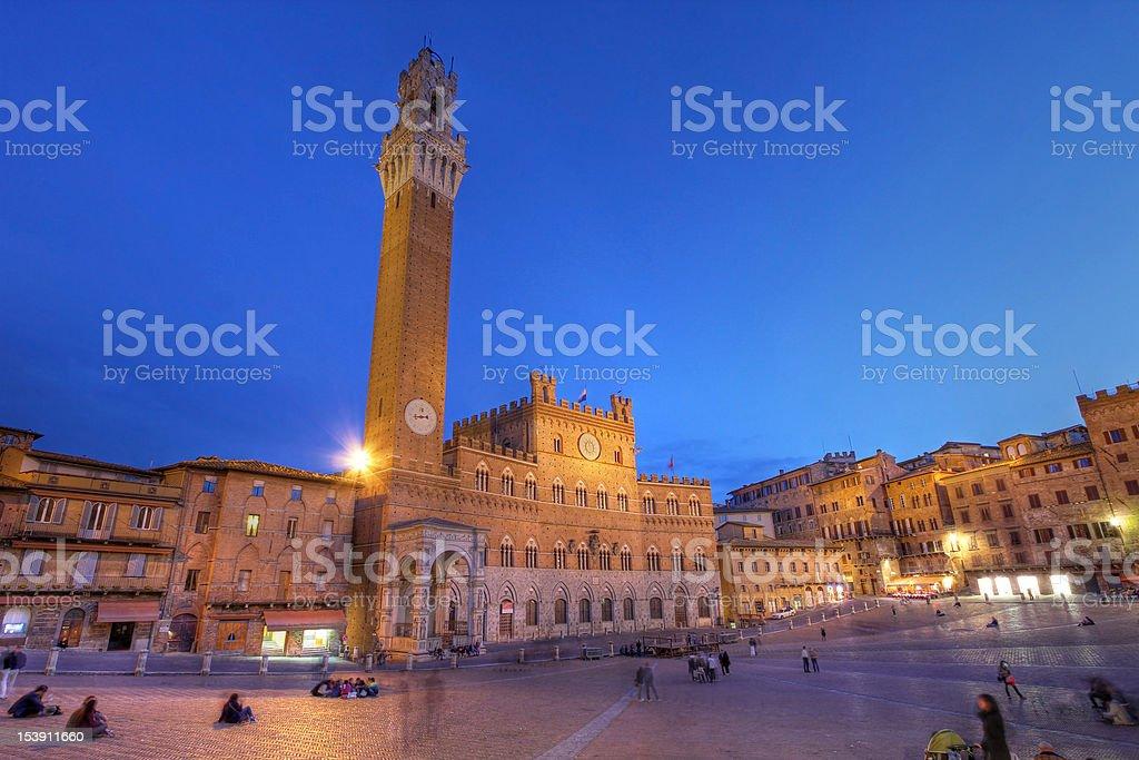 Palazzo Publico in Piazza del Campo, Siena, Italy stock photo