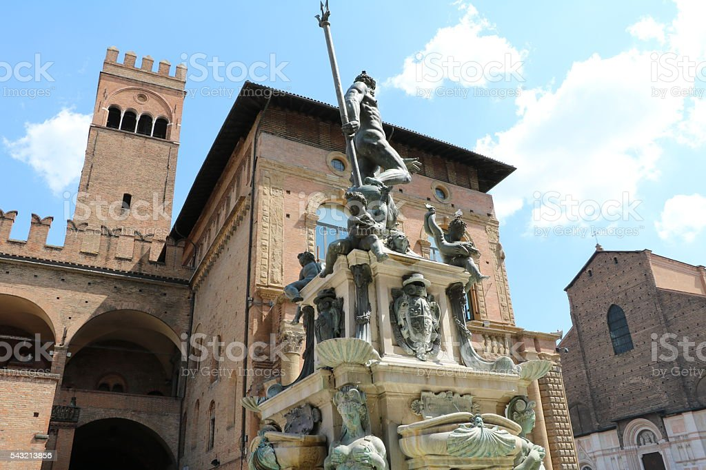 Palazzo Re Enzo and Fountain of Neptune, Bologna Italy stock photo