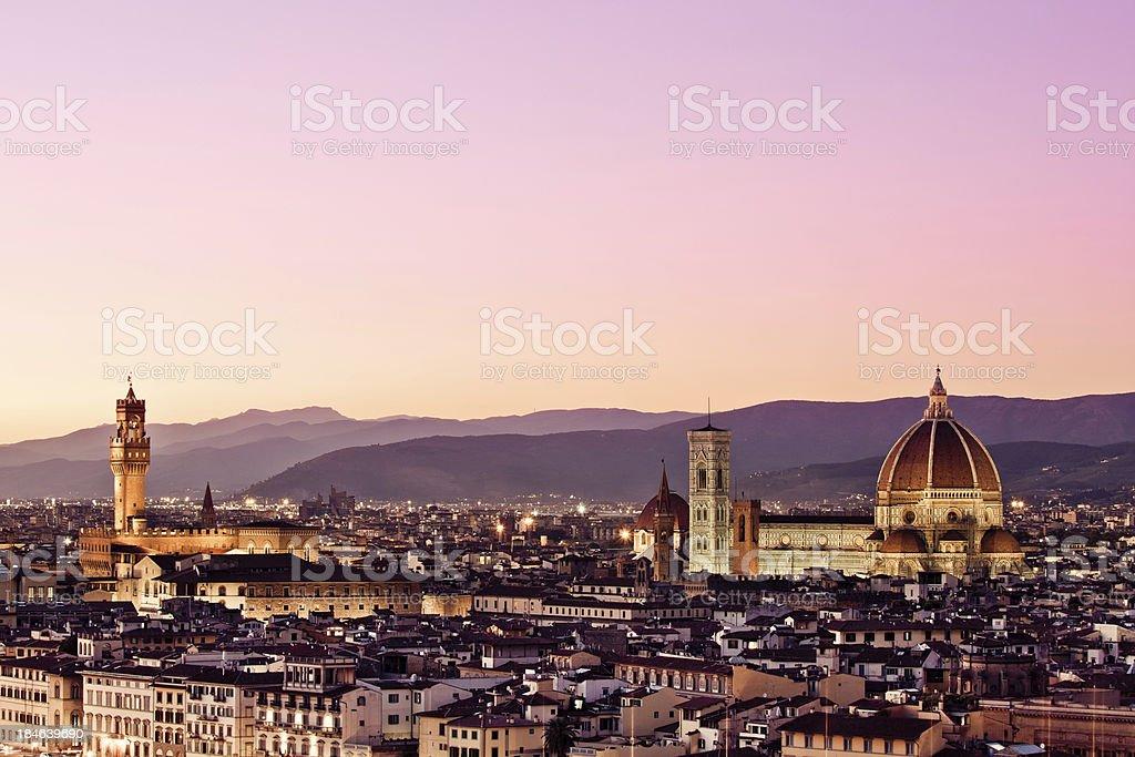 Palazzo Vecchio and Duomo, Florence Skyline stock photo