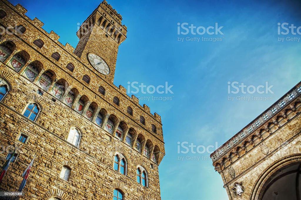 Palazzo Vecchio and Loggia de Lanzi stock photo