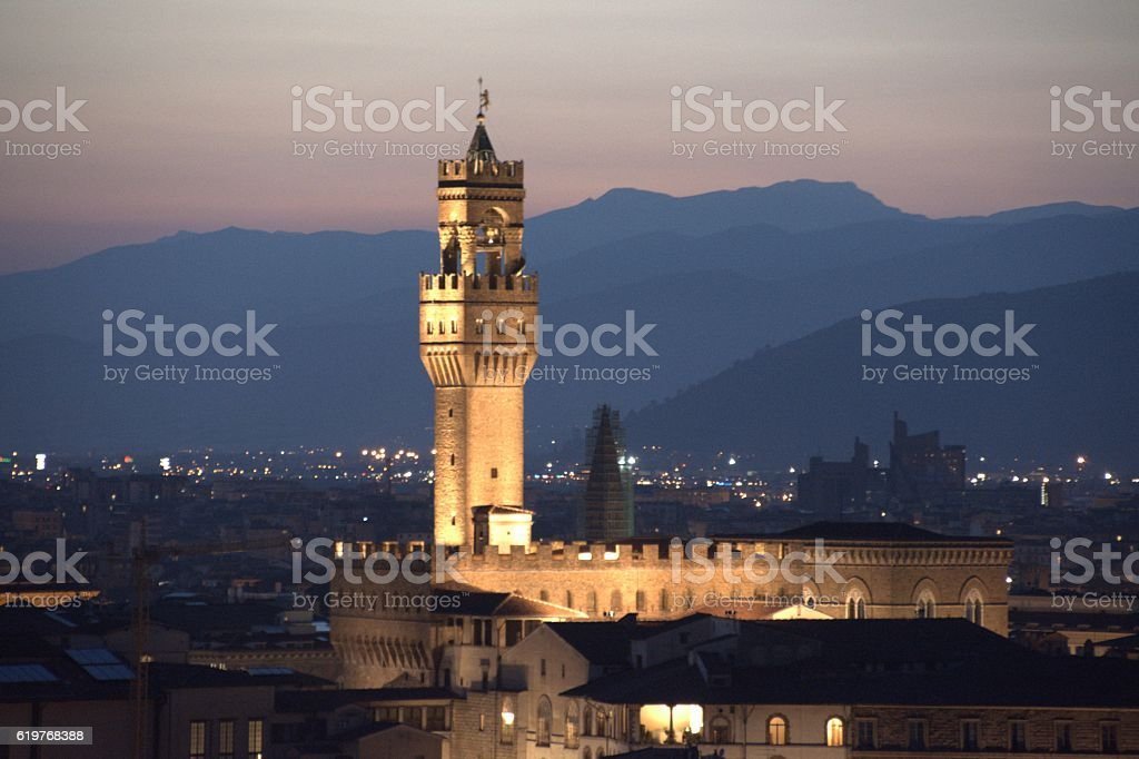 Palazzo Vecchio at dusk, Tuscany, Italy stock photo
