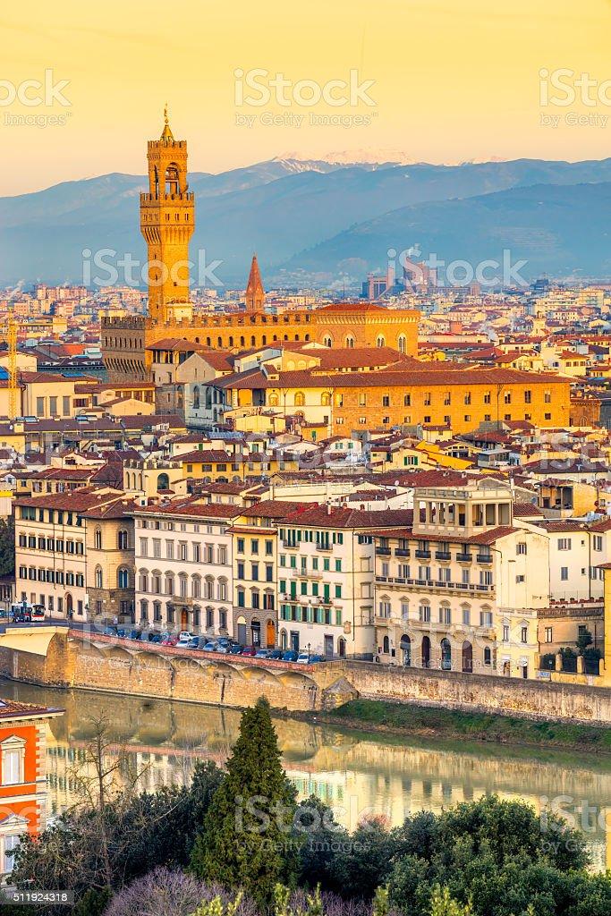 Palazzo Vecchio at sunset, Florence, Italy. stock photo