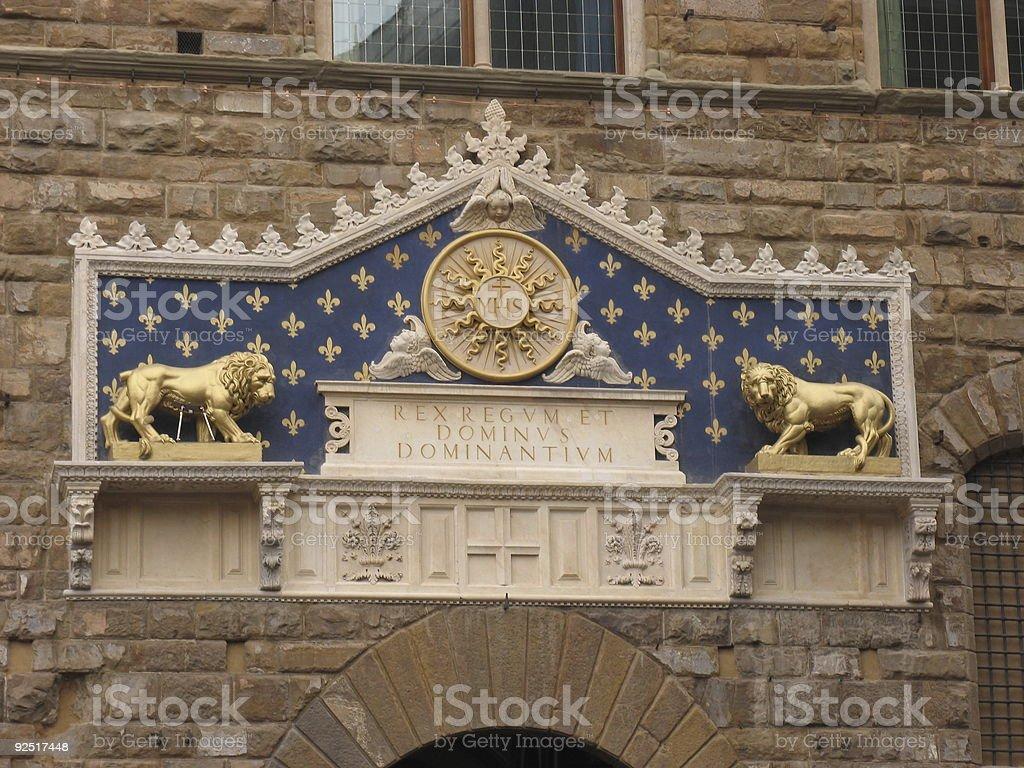 Palazzo Vecchio entrance stock photo