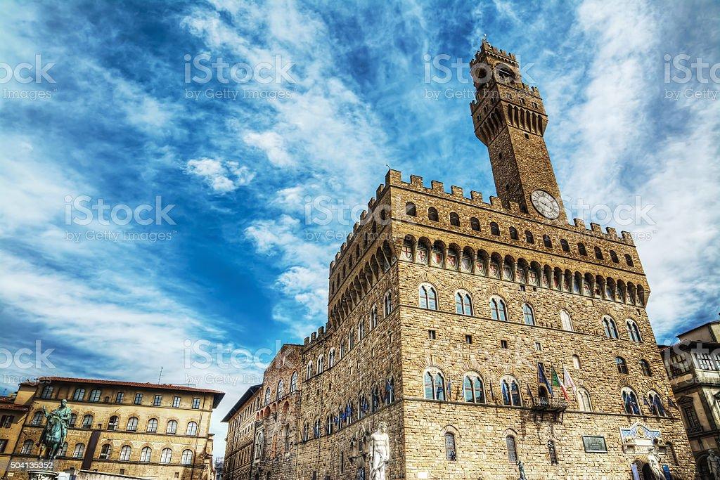 Palazzo Vecchio in Piazza della Signoria stock photo