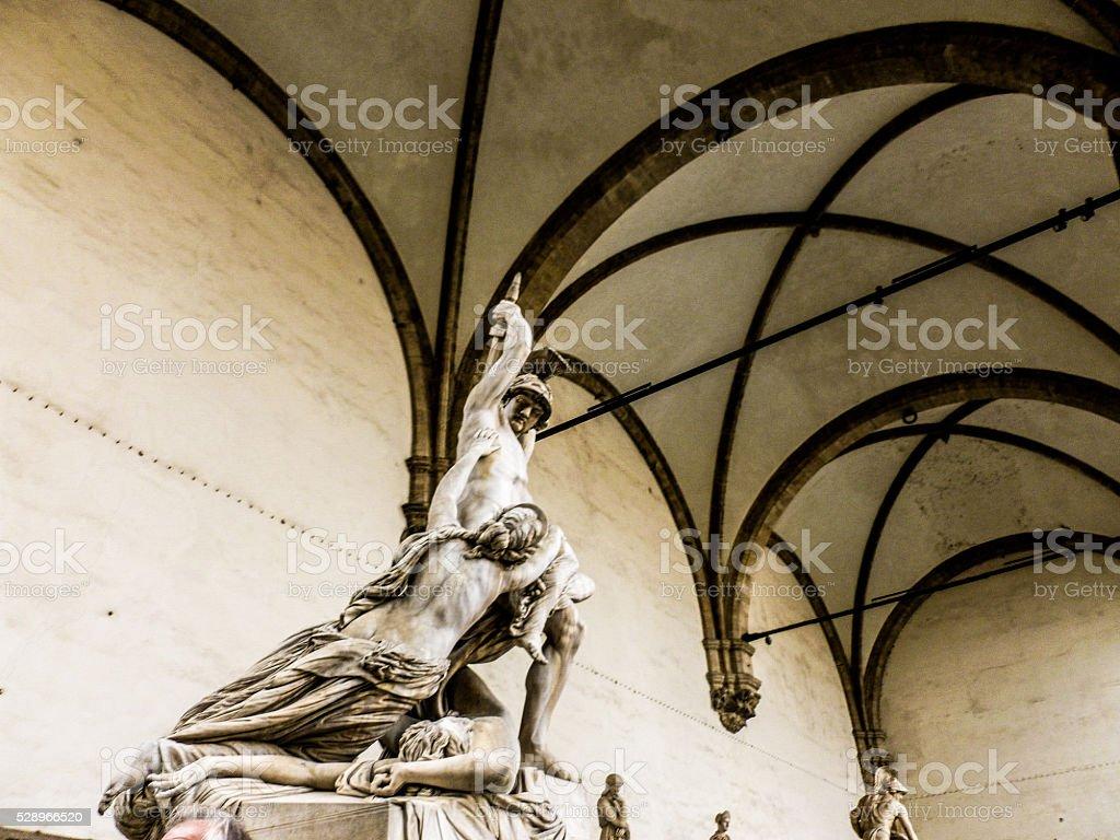 Palazzo Vecchio, Piazza della Signoria. Famous statue of the mai stock photo