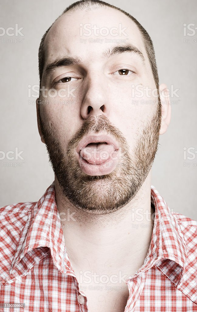 Pale Bearded Man Looking Sick and Nauseous stock photo