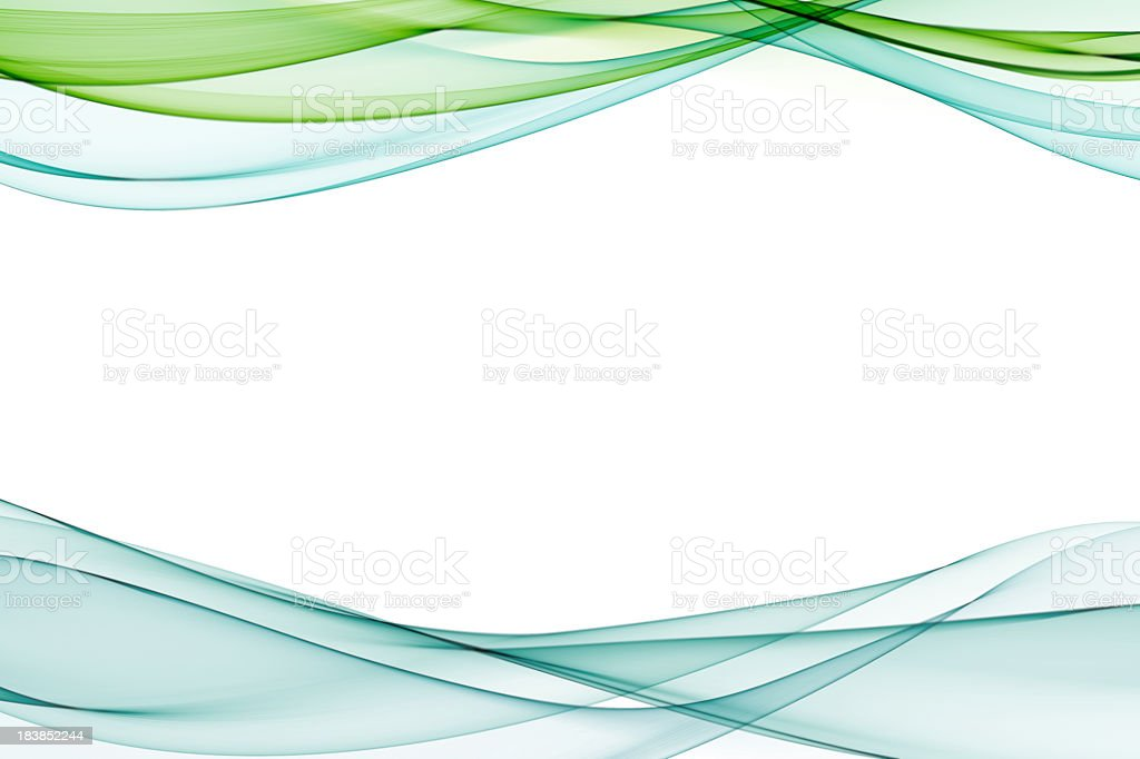Pale blue and green abstract waves on a white background stock photo