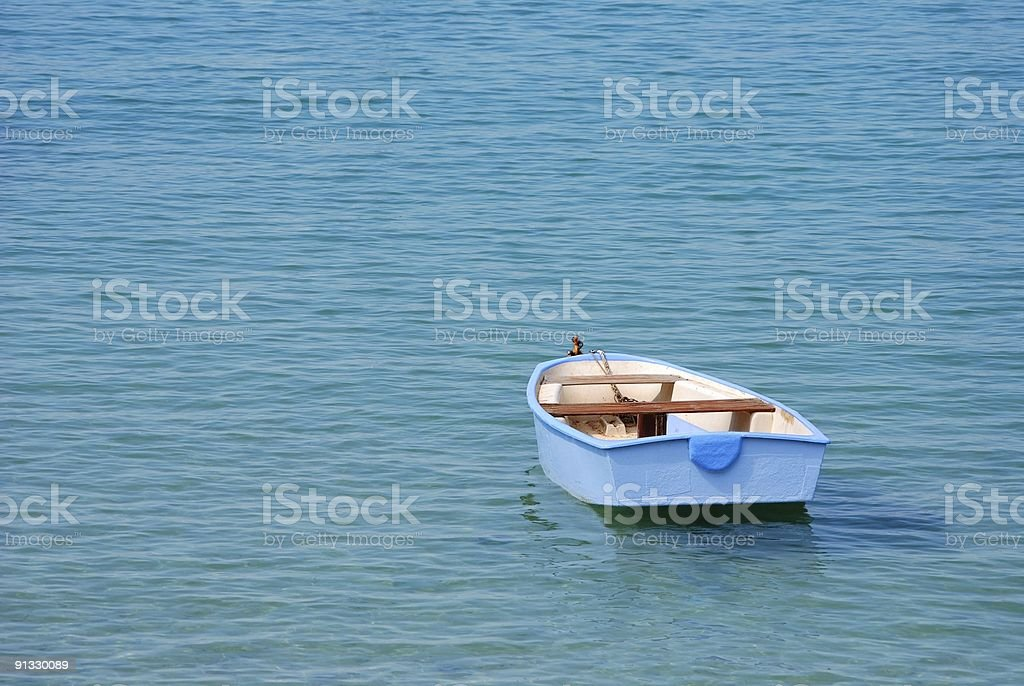 Pale blue rowing boat royalty-free stock photo