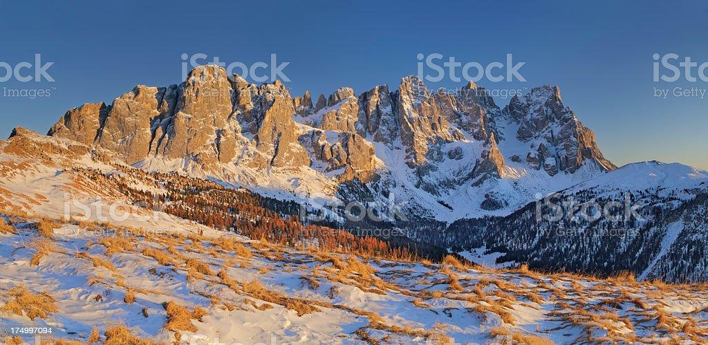Pale Di San Martino at Sunset (Dolomites - Italy) stock photo