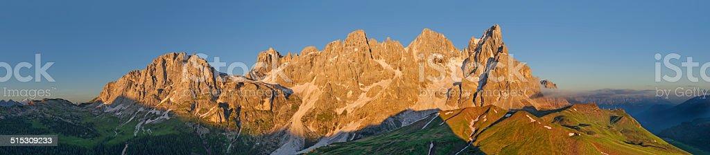 Pale di San Martino at sunset (Dolomites) stock photo