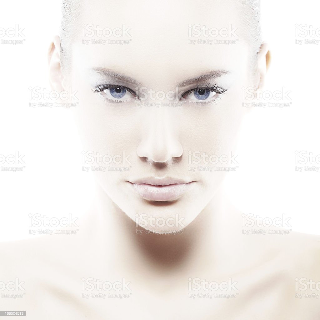 Pale woman with blue eyes on white stock photo