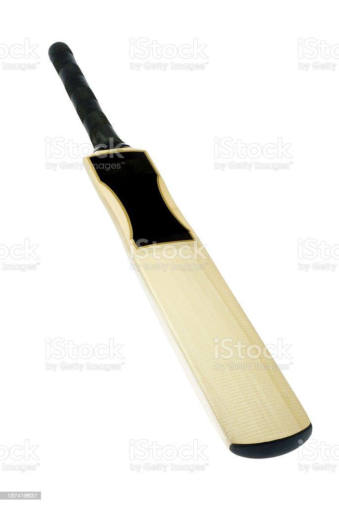Pale wood cricket bat on white background stock photo