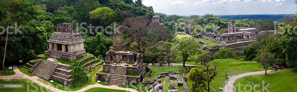 Palenque / Mexico - Mayan ruins - Panorama stock photo