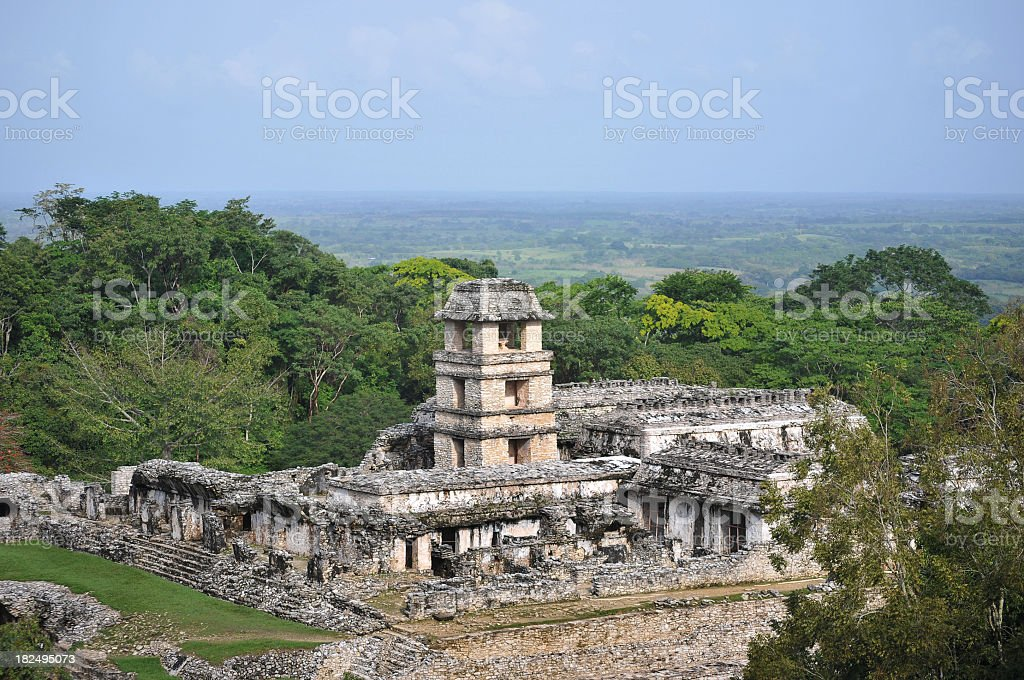 Palenque ruins - The palace and observatory stock photo