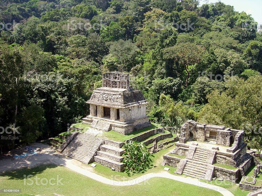 Palenque, temple of the Sun. Chiapas, Mexico stock photo