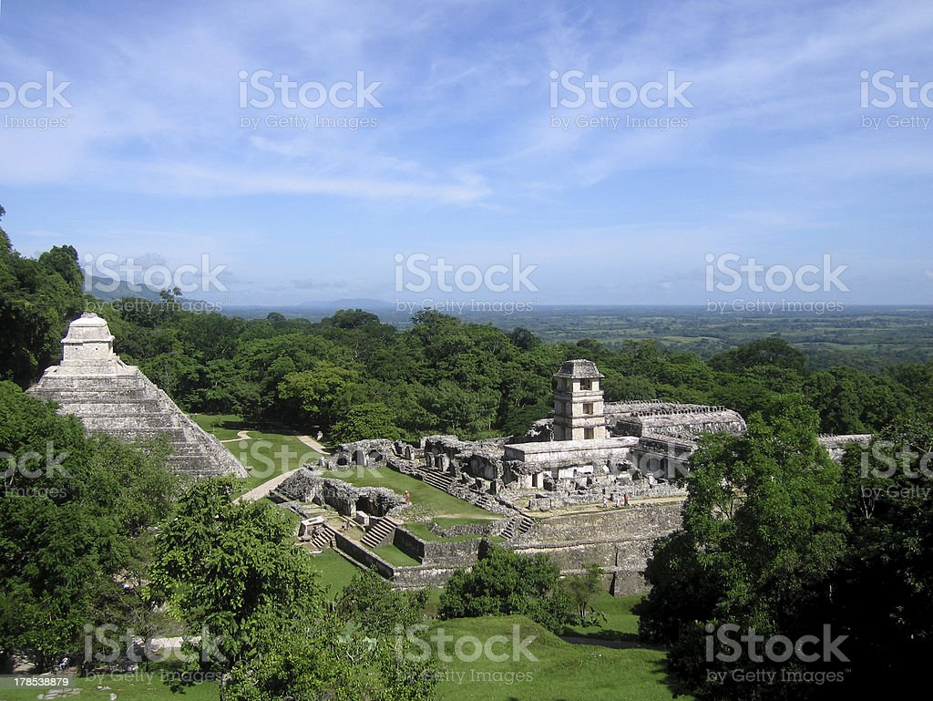 Palenque, view of pyramids and surroundings stock photo