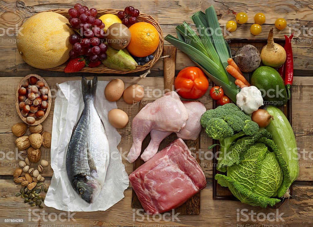 Paleo diet products stock photo