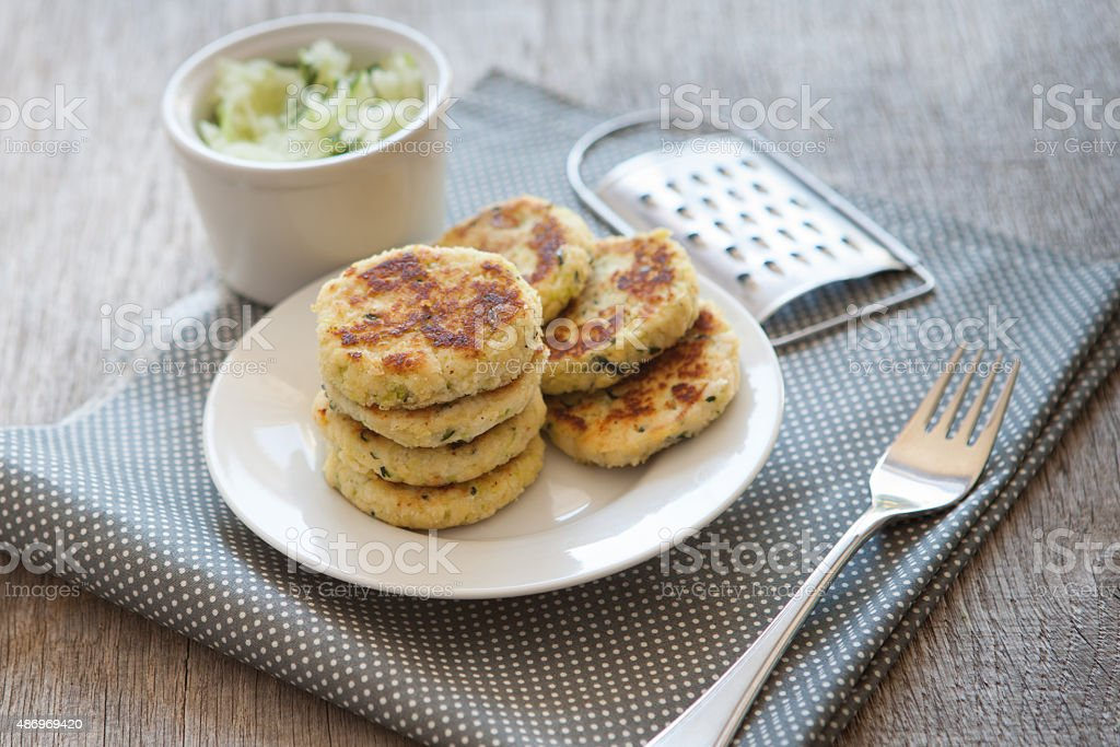 Paleo style zucchini fritters made with coconut flour stock photo
