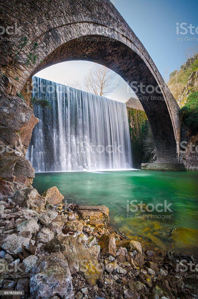 Paleokarya, old, stone, arched bridge,Greece stock photo