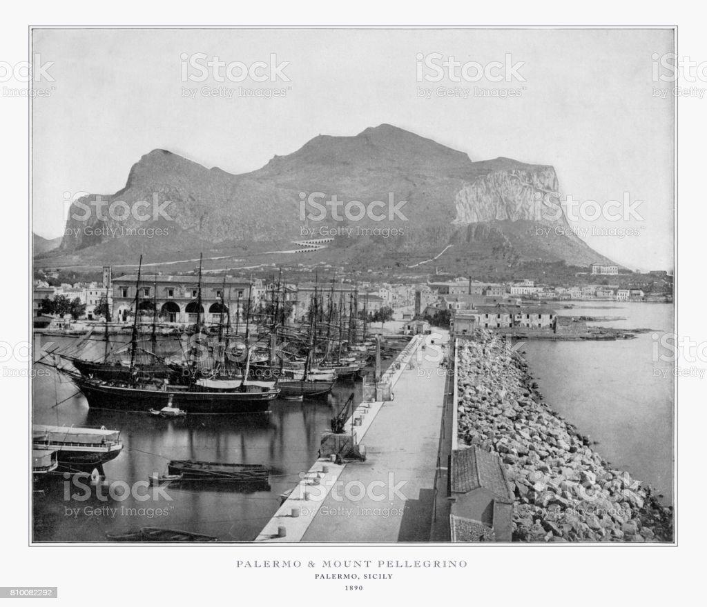 Palermo and Monte Pellegrino, Palmero, Sicily, Italy, Antique Italian Photograph, 1893 stock photo
