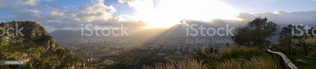 Palermo at sunset stock photo